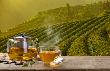 FototapetaWarm cup of tea and glass jugs or jars and tea leaf on wooden table with the tea plantations background