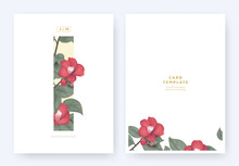 Minimalist Floral Invitation Card Template Design, Red Japanese Camellia And Leaves In Yellow Rectangle On White Background, Pastel Theme