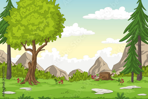 Photo Cartoon summer landscape with mountains, hand draw illustration