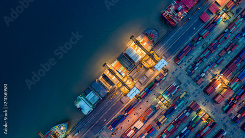 Fotografie, Obraz Logistics and transportation of Container Cargo ship and Cargo plane with workin