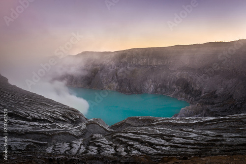 View of Kawah Ijen mountain and lake in Indonesia