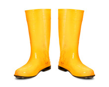 Yellow Rubber Boots Isolated O...