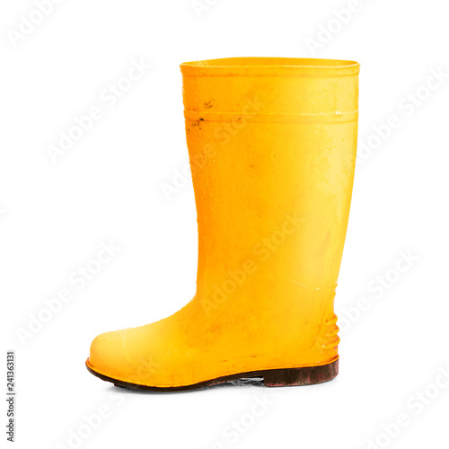 Fotografía  Yellow rubber boots isolated on white background