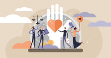 Human Rights Vector Illustration. Tiny Equal And Variety Persons Concept.