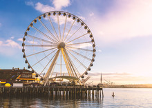 The Seattle Great Wheel At Sun...