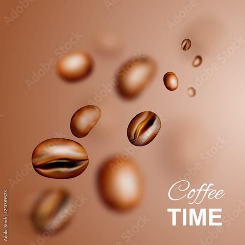 Fototapeta Flying Coffee Beans Vector 3d Background Or Pattern