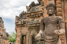 Old Stucco Sculpture. Phanom Rung Historical Park Is Castle Rock Old, Phanom Rung National Park In North East Of Thailand.