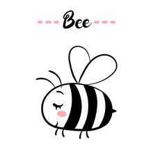 Bee Text. Little Black And Whi...
