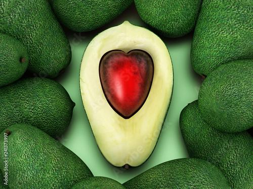Fototapeta Heart shaped avocados isolated on white background. 3D illustration obraz