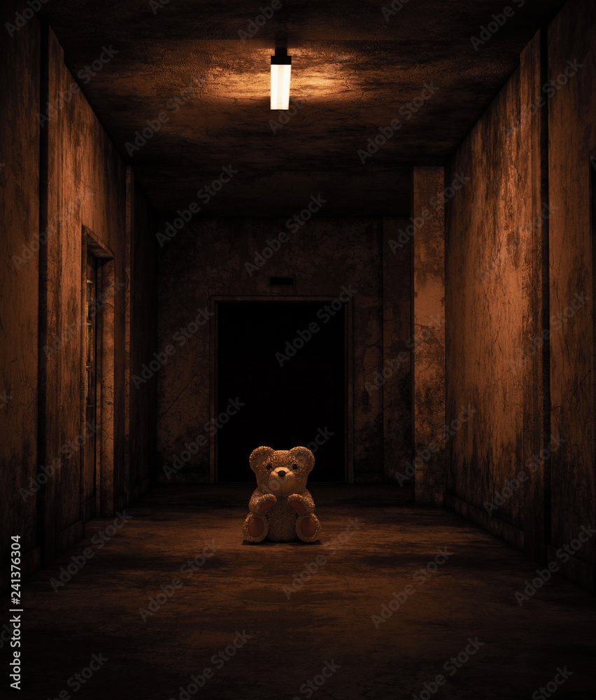 Fototapety, obrazy: Teddy bear sitting in haunted house,Scary background for book cover