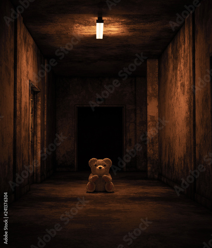 Fotomural Teddy bear sitting in haunted house,Scary background for book cover