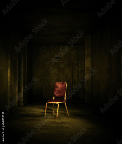 3d rendering of an old chair in haunted house or asylum Canvas Print