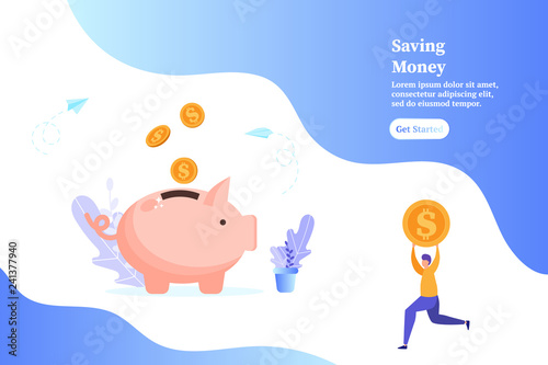 Fotografía  Piggybank with falling gold coins, man holding a coin, concept of saving money and profit, vector illustration for web, ui, landing page, flyer, poster, banner