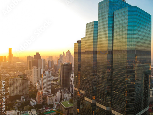 Fototapety, obrazy: Industrial office building sunrise colorful sky aerial view