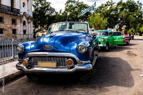 Poster Amérique Centrale Oldtimer in Havanna Kuba blau und grün