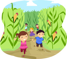 Stickman Kids Corn Maze Run Il...