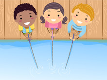Stickman Kids Fishing Top View Illustration