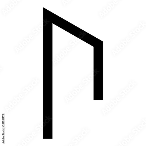 Photo Rune Uruz Urus aurochs power icon black color vector illustration flat style ima