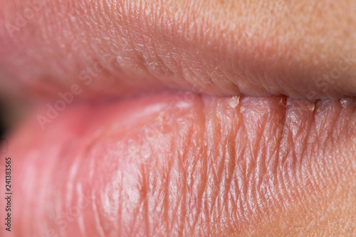 Valokuva  Closeup macro portrait of Man red lip, Human male open close mouth
