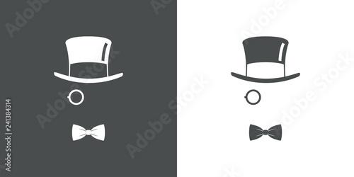 Fotografie, Obraz  Icono plano con chistera monóculo y corbata de lazo en gris y blanco
