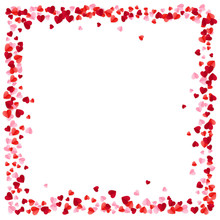 Red And Pink Paper Hearts Frame Background. Hearts Frame With Space For Text. Romantic Scattered Hearts Texture. Vector Illustration