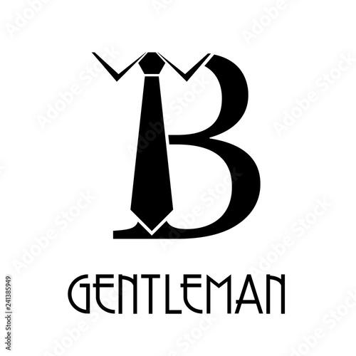 Valokuva Logotipo con texto GENTLEMAN con letra B con corbata en color negro
