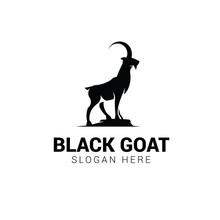Goat Standing On Rock Logo Tem...