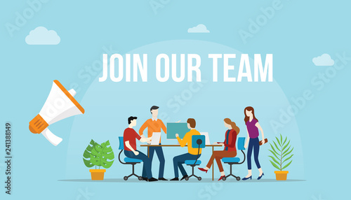 Fotografía join our team concept with team people working together on the desk