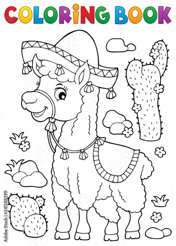 Wall Murals For Kids Coloring book llama in sombrero
