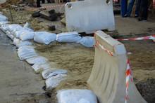 The Wall Of Sandbags. Sandbags...
