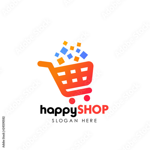 happy shopping logo design template. shopping cart vector icon Fototapeta