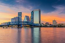 Skyline Of Jacksonville, FL And Main Street Bridge At Dusk