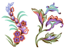 Set Of Paisley Elements Abstract Flowers And Leaves  Colorful Bouquet On White Background
