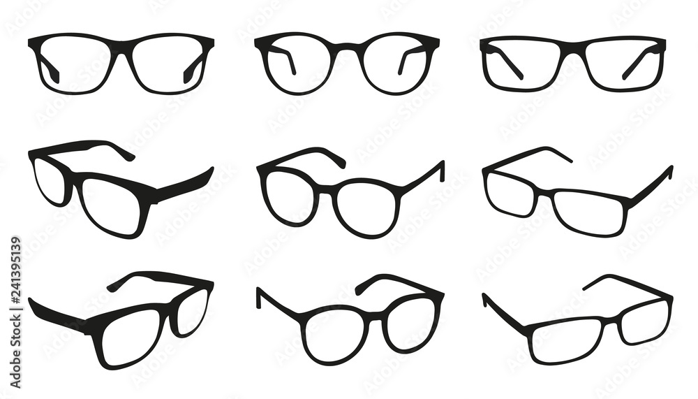 Fototapeta Glasses Icons - Different Angle View - Black Vector Illustration Set - Isolated On White Background