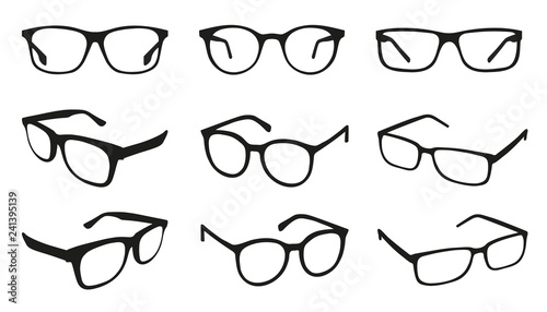 Glasses Icons - Different Angle View - Black Vector Illustration Set - Isolated Fototapeta