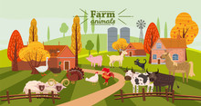 Farm Animals And Birds Set In ...