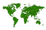 Green world map on white background vector - 241396778