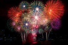 Colorful Fireworks Of Various ...
