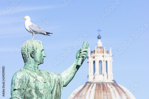 Deurstickers Historisch mon. Statue of emperor Caesar Nervae August with gull on the head. Man taking selfie. Humor concept