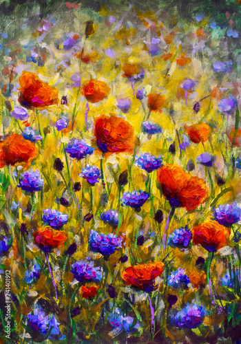 Stickers pour porte Kaki Field of flowers Impressionism modern oil painting - red flowers poppies blue flowers of cornflowers close-up illustration. Flower modern landscape artwork for poster, for fabric