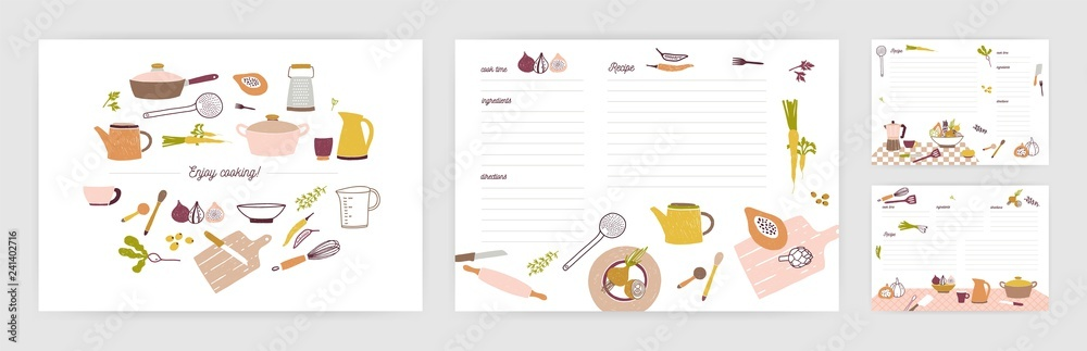 Fototapety, obrazy: Bundle of recipe card templates for making notes about preparation of food and cooking ingredients. Clean cookbook pages decorated with colorful kitchen utensils and vegetables. Vector illustration.