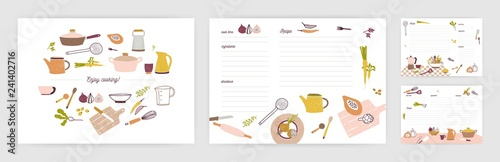 Fotografía Bundle of recipe card templates for making notes about preparation of food and cooking ingredients