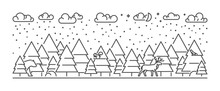 Vector Line Illustration Winter Forest. Open Path