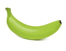 Fresh Ripe Green Banana Isolated On White Background. Vector 3d Illustration