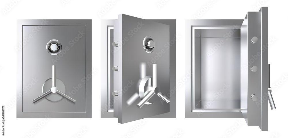 Fototapety, obrazy: Realistic metal safe with opened and closed door. Armored box vector illustration.