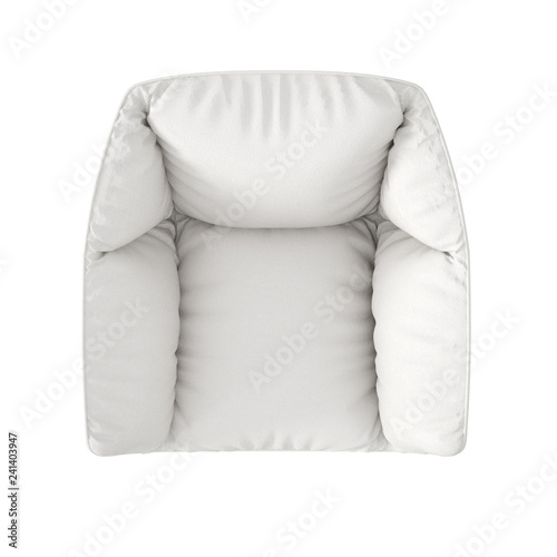 Single white fabric modern armchair isolated on white ...