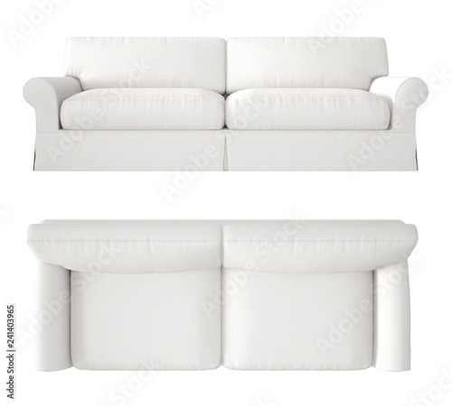 Single white fabric modern sofa isolated on blank background, top ...