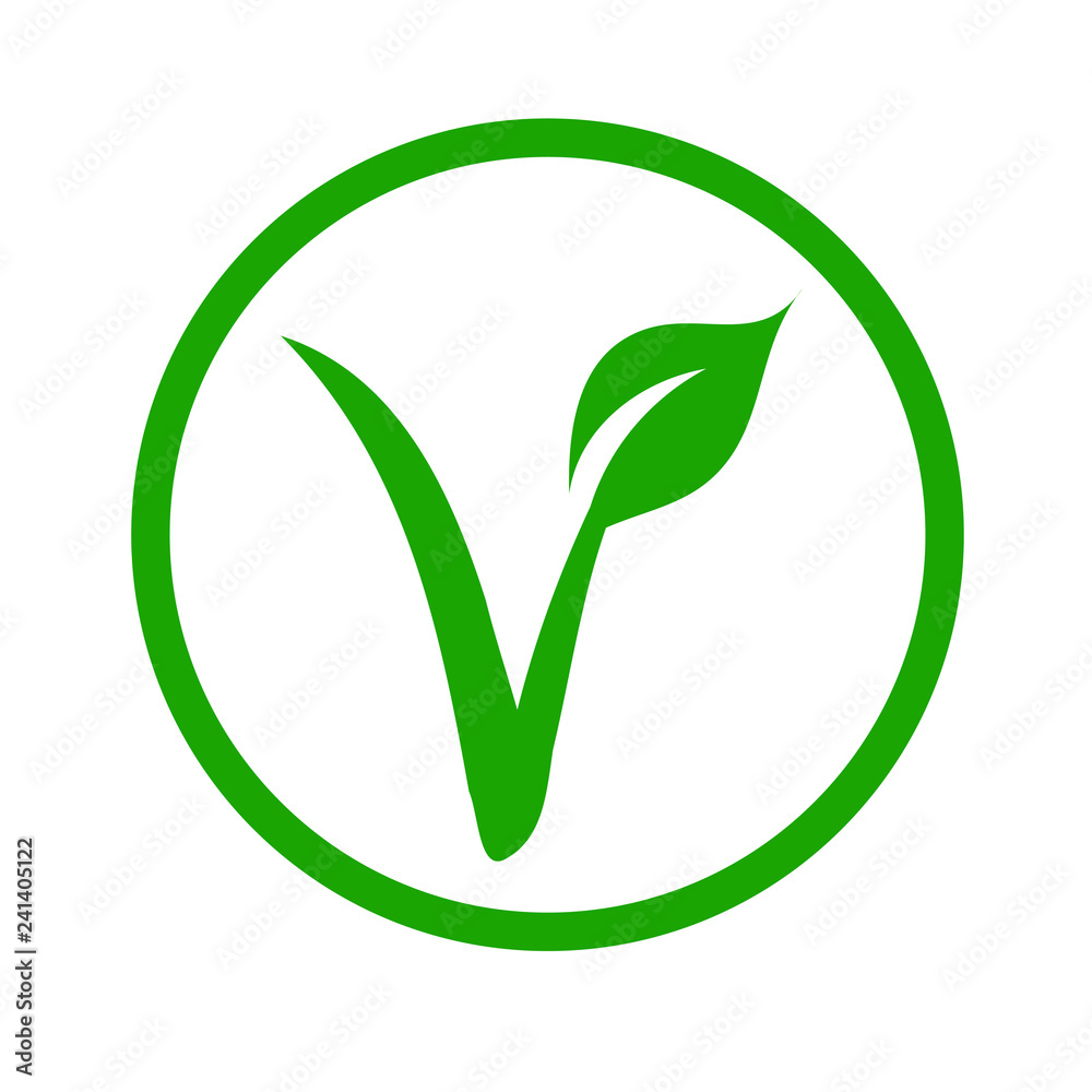 Fototapety, obrazy: Universal vegetarian symbol- The V-label- V with a leaf, originated with the European Vegetarian Union.