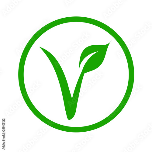 Universal vegetarian symbol- The V-label- V with a leaf, originated with the European Vegetarian Union Canvas Print