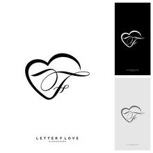 Letter F Heart Logo Icon Desig...